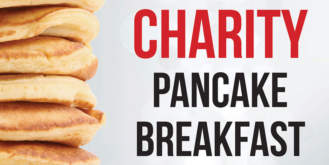 Poster with pancakes and text for charity pancake breakfast
