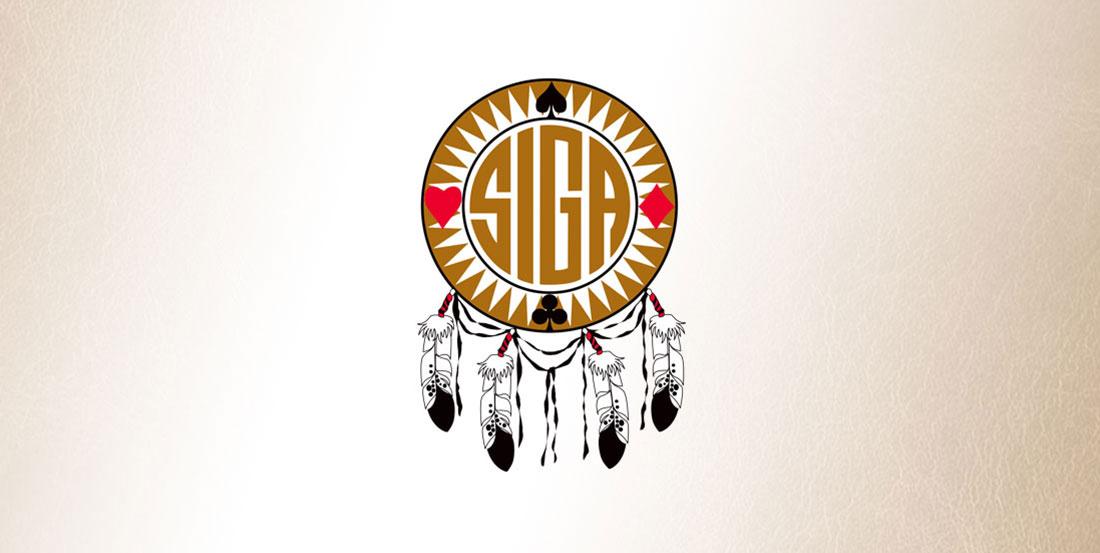 SIGA logo on leather background